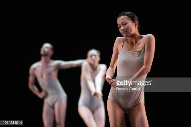 Mariko Kakizaki of LEV Dance Company performs 'Love Cycle Love Chapter 2' on stage during a photocall for the Edinburgh International Festival 2018...
