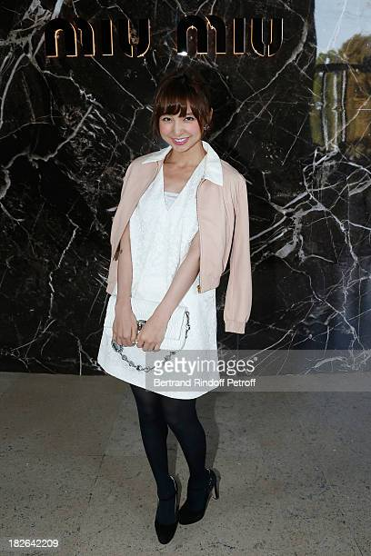 Mariko Shinoda attends the Miu Miu show as part of the Paris Fashion Week Womenswear Spring/Summer 2014 at the Palais d'IENA on October 2 2013 in...