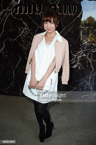 Mariko Shinoda attends the Miu Miu show as part of the Paris Fashion Week Womenswear Spring/Summer 2014 at Palais d'Iena on October 2 2013 in Paris...