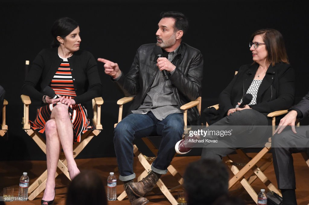 Maril Davis, Matthew B. Roberts and Toni Graphia speak on stage at the STARZ Outlander FYC Event at Linwood Dunn Theater on March 18, 2018 in Los Angeles, California.