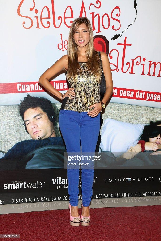 Marile Andrade attends the '7 Anos de Matrimonio' Mexico City premiere red carpet at Plaza Carso on January 22, 2013 in Mexico City, Mexico.