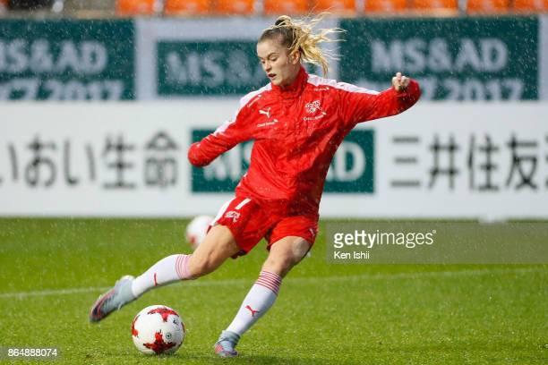 Marilena Widmer of Switzerland warms up prior to the international friendly match between Japan and Switzerland at Nagano U Stadium on October 22...