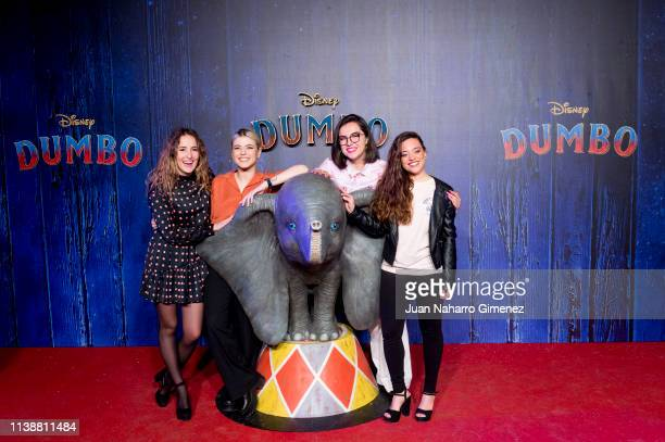 Marilia Alba Reche Marta Sango and Noelia attend the Special Screening Of Tim Burton's 'Dumbo' at Principe Pio Theater on March 27 2019 in Madrid...