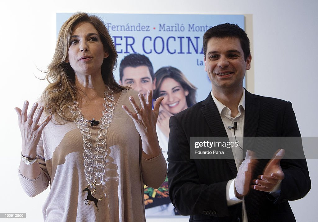 Marilo Montero and Sergio Fernandez attend 'Saber Cocinar. Recetas Ligjt' press conference at El Circulo de Lectores on April 18, 2013 in Madrid, Spain.