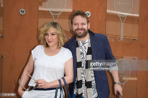 Marilou Berry and companion Arnaud Schneider at Roland Garros on June 8 2013 in Paris France