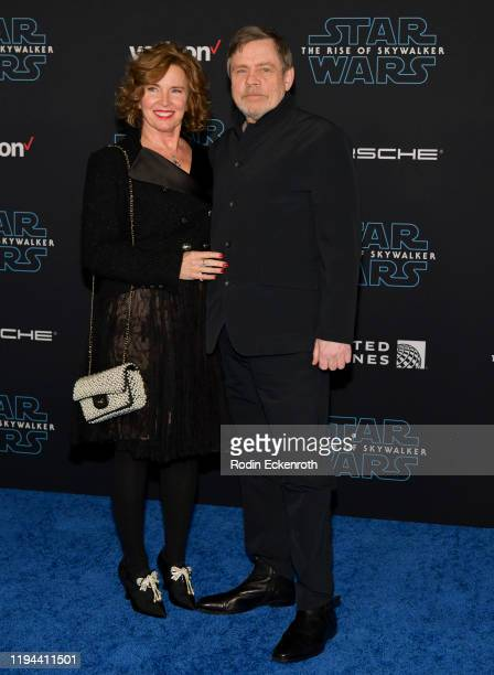 "Marilou York and Mark Hamill attend the Premiere of Disney's ""Star Wars: The Rise Of Skywalker"" on December 16, 2019 in Hollywood, California."