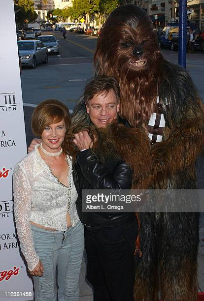 Marilou York and Mark Hamill with Chewbacca during Star Wars Episode III Revenge of The Sith Premiere to Benefit Artists for a New South Africa...
