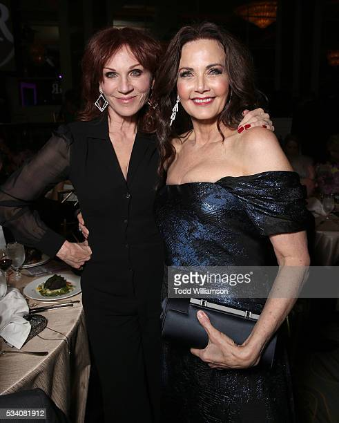 Marilu Henner and Lynda Carter attend the 41st Annual Gracie Awards at Regent Beverly Wilshire Hotel on May 24 2016 in Beverly Hills California