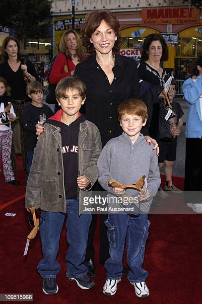 Marilu Henner and sons during Kangaroo Jack Premiere Los Angeles at Chinese Theatre in Hollywood California United States