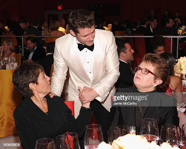 Marilyn Barnett actor Matthew Morrison and tennis player Billie Jean King attend the 21st Annual Elton John AIDS Foundation Academy Awards Viewing...