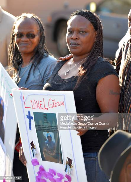 Marilyn Carter left and Alice Corley the grandmother and mother of Lionel Gibson attend a vigil for Lionel Gibson in Long Beach CA on Wednesday May...