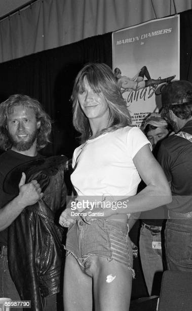 Marilyn Chambers appearing at a press conference to promote her film Insatiable at the Pussycat Theatre Los Angeles on July 13 1980