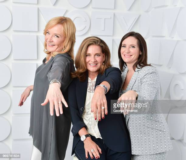 Marilyn Denis Lisa LaFlamme and Amanda Lang pose at the CTV Upfronts portrait studio held at the Sony Centre For Performing Arts on June 7 2018 in...