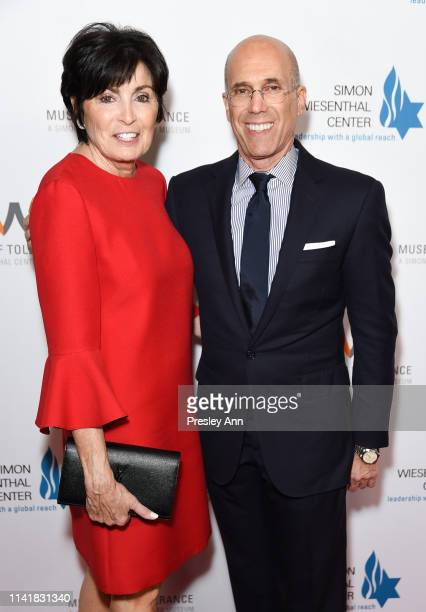 Marilyn Katzenberg and Jeffrey Katzenberg attend Simon Wiesenthal Center's 2019 National Tribute Dinner at The Beverly Hilton Hotel on April 10 2019...