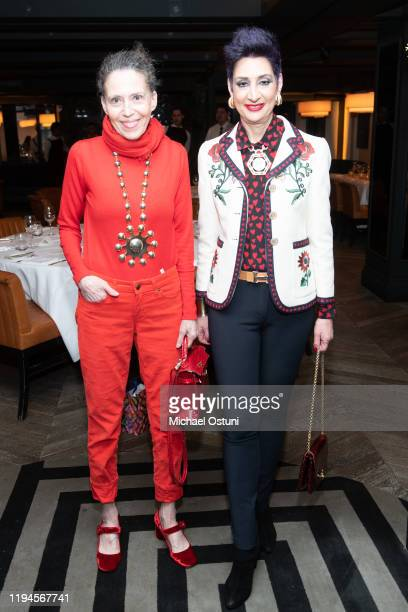 Marilyn Kirschner and Laurel Marcus attend Jean Shafiroff 2019 Holiday Luncheon at Omar's at Vaucluse on December 17 2019 in New York City