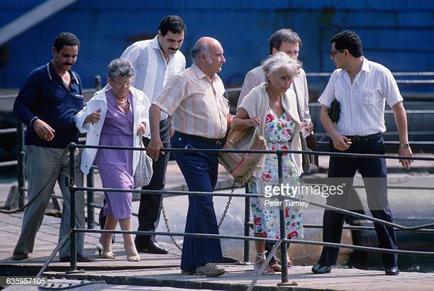 Marilyn Klinghoffer leaves the Italian cruise ship Achille Lauro after the ship was hi jacked by Palestinians who shot her wheelchairbound husband...
