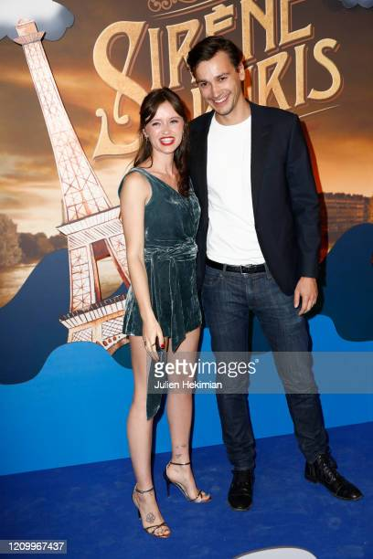 Marilyn Lima and her boyfriend Michel Biel attend the Une Sirene A Paris premiere at Cinema Max Linder on March 02 2020 in Paris France