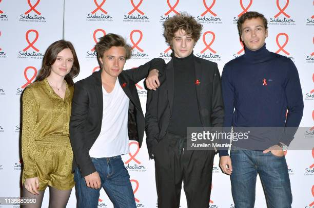 Marilyn Lima Axel Auriant Maxence DanetFauvel and Michel Biel attend the Sidaction 2019 photocall at Salle Wagram on March 18 2019 in Paris France