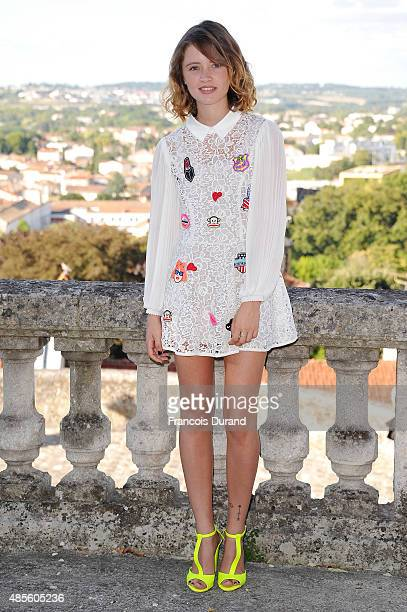 Marilyn Lima poses at a photocall for the film 'Bang Gang ' during the 8th Angouleme FrenchSpeaking Film Festival on August 28 2015 in Angouleme...