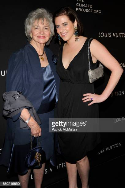 Marilyn Lovell and Caroline Harrison attend LOUIS VUITTON 40th Anniversary of the Lunar Landing Tribute Event at Rose Center for Earth and Space on...