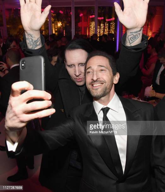 Marilyn Manson and Adrien Brody attend the 2019 Vanity Fair Oscar Party hosted by Radhika Jones at Wallis Annenberg Center for the Performing Arts on...