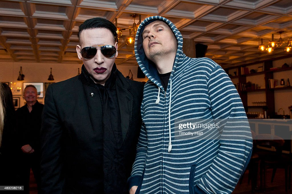 Marilyn Manson and Billy Corgan attend SiriusXM's Town Hall With Marilyn Manson And Billy Corgan on August 6, 2015 in Chicago, Illinois.