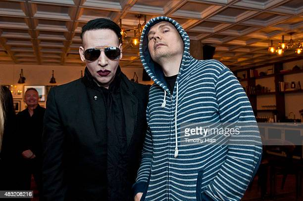 Marilyn Manson and Billy Corgan attend SiriusXM's Town Hall With Marilyn Manson And Billy Corgan on August 6 2015 in Chicago Illinois
