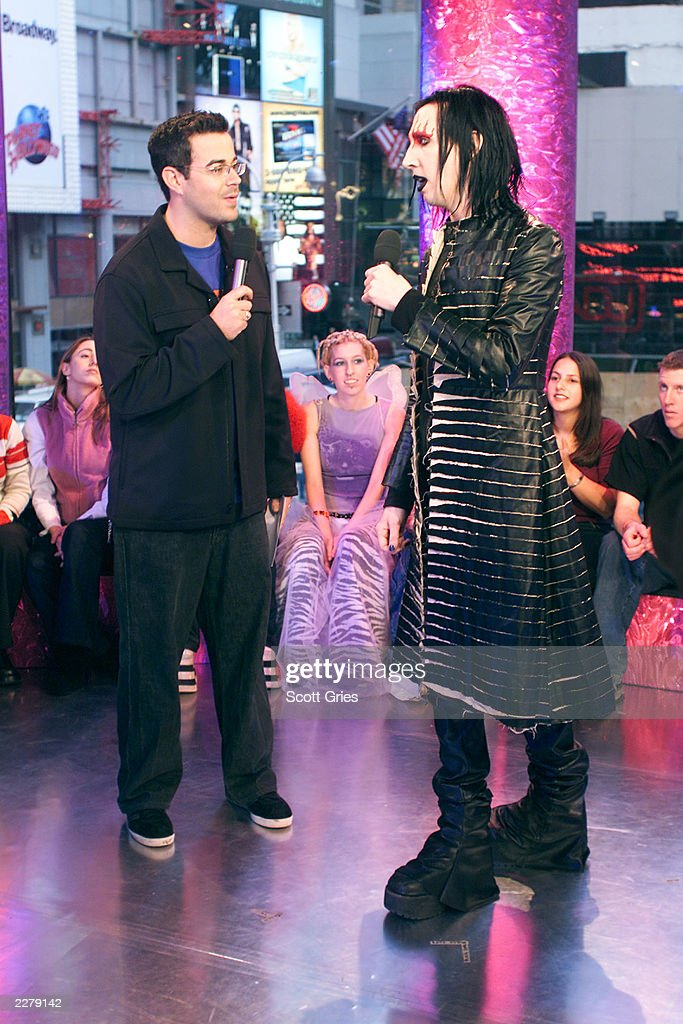 marilyn manson and carson daly at the mtv studios in new york during news photo getty images. Black Bedroom Furniture Sets. Home Design Ideas