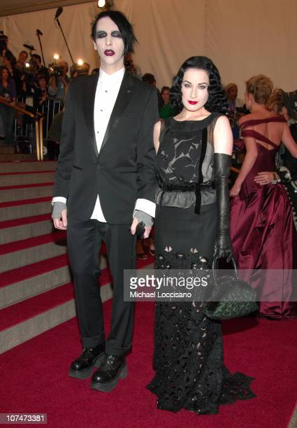 """Marilyn Manson and Dita Von Teese during """"AngloMania"""" Costume Institute Gala at The Metropolitan Museum of Art - Arrivals. Celebrating """"AngloMania:..."""