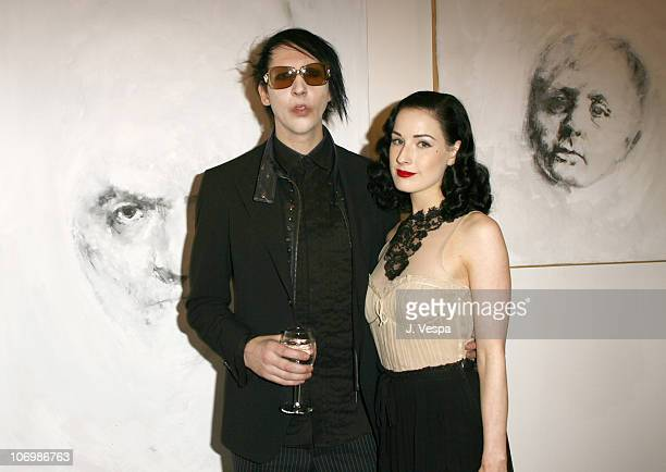 Marilyn Manson and Dita Von Teese during Johnny Depp and Trigg Ison Host the Premiere American Exhibition of Gravleur - On Exhibit June 2-20, 2006 at...