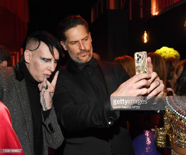 Marilyn Manson and Joe Manganiello attend the 2020 Vanity Fair Oscar Party hosted by Radhika Jones at Wallis Annenberg Center for the Performing Arts...