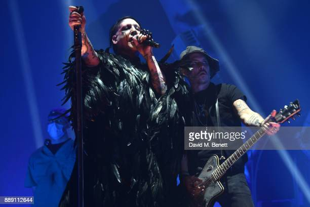 Marilyn Manson and Johnny Depp attend as Marilyn Manson performs at The SSE Arena Wembley on December 9 2017 in London England