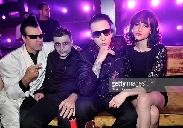 Marilyn Manson and Lindsay Usich attend a Halloween party at Haze Nightclub at the Aria Resort Casino at CityCenter on October 30 2010 in Las Vegas...