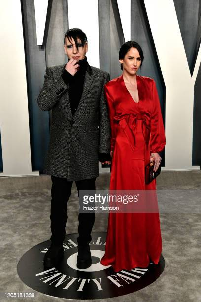 Marilyn Manson and Lindsay Usich attend the 2020 Vanity Fair Oscar Party hosted by Radhika Jones at Wallis Annenberg Center for the Performing Arts...