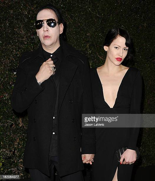 Marilyn Manson and Lindsay Usich attend the premiere of HBO's final season of Eastbound And Down at Avalon on September 27 2013 in Hollywood...
