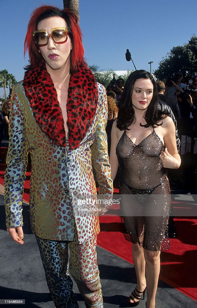 Marilyn Manson and Rose McGowan during 1998 MTV Video ...
