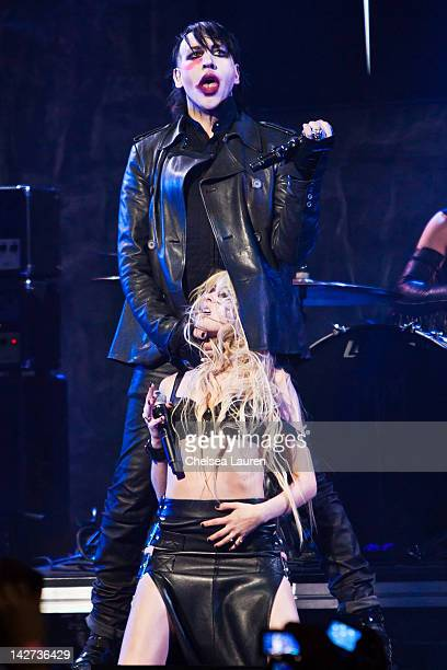 Marilyn Manson and Taylor Momsen perform at the 4th annual Revolver Golden Gods awards at Club Nokia on April 11 2012 in Los Angeles California
