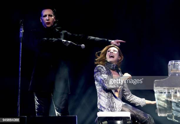 Marilyn Manson and Yoshiki of X Japan perform onstage during the 2018 Coachella Valley Music And Arts Festival at the Empire Polo Field on April 21...