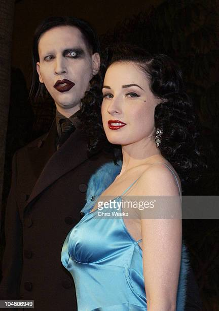 Marilyn Manson Dita Von Teese during Premierei of The Rules of Attraction Hosted by Flaunt Magazine at The Egyptian Theatre in Hollywood CA United...