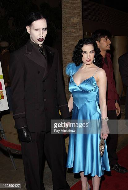 Marilyn Manson Dita Von Teese during 'The Rules of Attraction' Premiere Arrivals at The Egyptian Theatre in Hollywood California United States