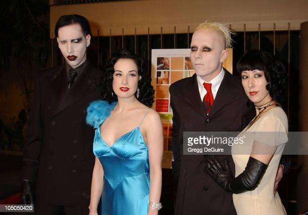 Marilyn Manson Dita Von Teese Tim Skold guest during 'The Rules of Attraction' Premiere Arrivals at The Egyptian Theatre in Hollywood California...