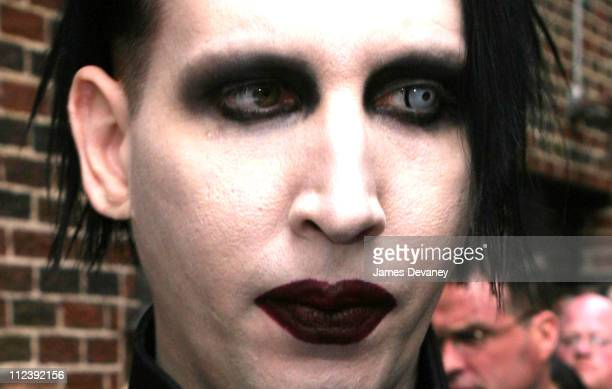 Marilyn Manson during Marilyn Manson Megan Mullally The Libertines Johnny Knoxville Visit the Late Show with David Letterman May 8 2003 at Ed...