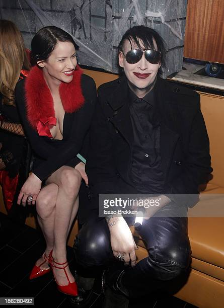 Marilyn Manson hosts a Halloween bash with his fiance Lindsay Usich at Hyde Bellagio at the Bellagio on October 29 2013 in Las Vegas Nevada