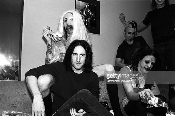 Marilyn Manson in blonde wig and Trent Reznor of Nine Inch Nails backstage at the taping of the last episode of the Jon Stewart Show in June 1995 in...
