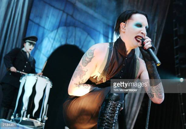 Marilyn Manson performing at the Ozzfest Tour 2003 on July 2 2003 The event was held at the Cricket Pavilion