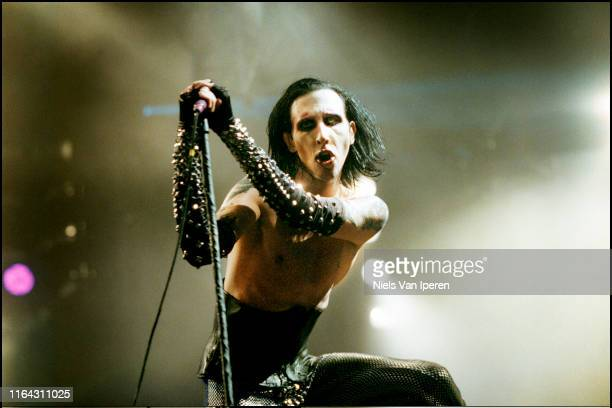 Marilyn Manson, performing on stage, Roskilde Festival, Roskilde, DK, 7th February 1999.