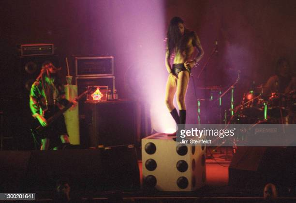 Marilyn Manson performs a simulated sex act at the Roy Wilkins Auditorium in St. Paul, Minnesota on September 5, 1994.