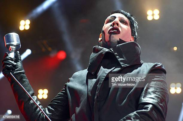 """Marilyn Manson performs during his """"The End Times Tour MMXV"""" at Concord Pavilion on July 7, 2015 in Concord, California."""