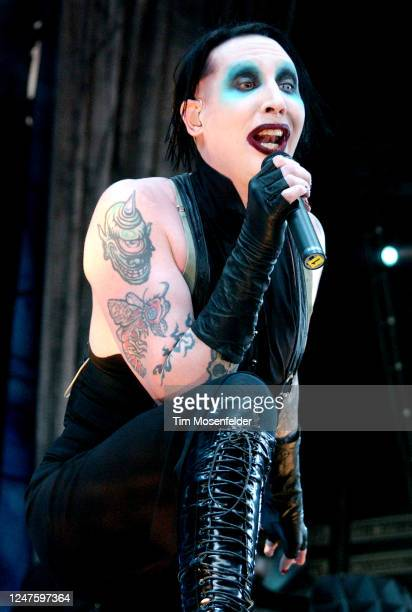 Marilyn Manson performs during Ozzfest 2003 at Cricket Pavilion on July 02, 2003 in Phoenix, Arizona.