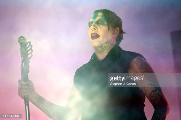 Marilyn Manson performs during the 2019 Louder Than Life Music Festival at Highland Festival Grounds at Kentucky Expo Center on September 29, 2019 in...